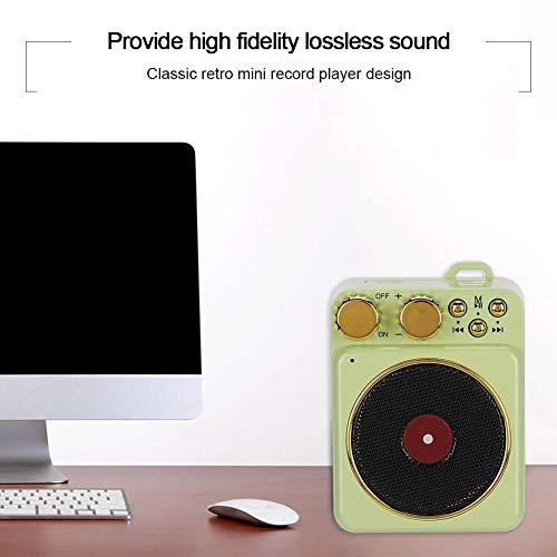 DC 3,7 V Retro Bluetooth 5,0 Lautsprecher, Bluetooth Lautsprecher Smart Audio Unterstützung Freisprechen/FM Radio/USB/TF Karte, klassische Retro Mini Multifunktions-Lautsprecher, Geschenk(Grün)
