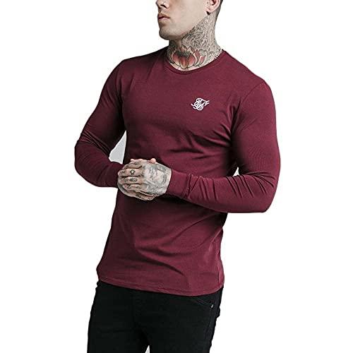 Sik Silk Camiseta de manga larga para hombre L/S, corte recto, SS-18064, color burdeos rojo M