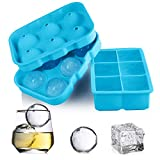 Ice Cube Trays Silicone Sphere Ice Ball Molds, GDREAMT Set of 2 Round Ice Ball Maker with Lid & Large Square...
