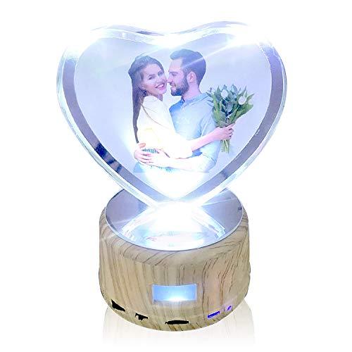 Leadleds Crystal Personalisierbares Foto Nachtlicht Bluetooth Lautsprecher drehbar Display Ständer mit LED Licht Geburtstag Geschenk Valentinstag Geschenk für Mädchen Frauen