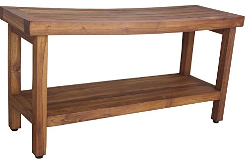 AquaTeak Patented 36″ Sumba Teak Shower Bench with Shelf
