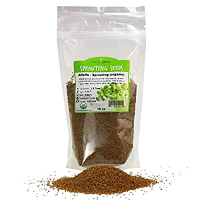 Certified Organic Alfalfa Sprouting Seed - Handy Pantry Brand - High Sprout Germination- Edible Seeds, Gardening, Hydroponics, Growing Salad Sprouts, Planting, Food Storage & More