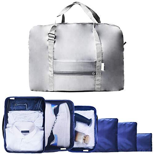 Organizer Valigie Borsone da Viaggio Divisori Valigia Porta Scarpe Packing Cube Travel Bag Borsa Sacchetti Impermeabili Traspiranti Lavabili Atossici Set di 7 (Blu + Borsone Omaggio) Mikipè