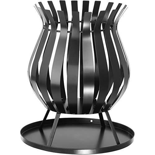 TecTake 403095 Feuerkorb für Garten und Terrasse, runde Feuerstelle, mit Auffangschale, schwarz