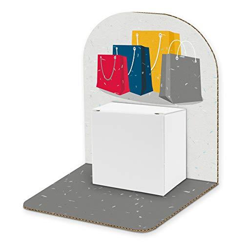 itenga Geldgeschenk Basic I Motiv Shopping/Einkaufstüten I Mitbringsel I Gutschein I Geschenkverpackung zum Aufstellen inkl. Geschenkbox