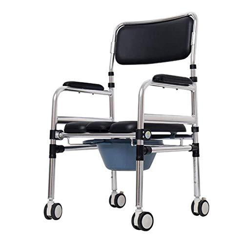 Tragbare Falten WC-Sitz, Schwangere Frauen Toileting Toilettenstuhl, Mobil Dusche Stuhl mit Rollen Travel Chair 94
