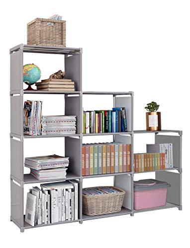 Kids 9 Cubes Bookcase Toy Closet Storage Organizers Bookshelf 4 Tier Office Book Shelf DIY Shelving Cabinet Shelves for Office