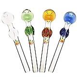Feoinvc - 4PCS Handmade Oil Glass Rainbow Leaf Style 5Inch (BSR Burner Set)