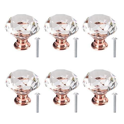 6 Piezas Muebles Pomos De Cristal Diamante 30mm Pomos Y Tiradores De Muebles Pomos Puertas Perilla Con Tornillos Perillas De Cajón Para Tocador Vitrina De Vidrio Gabinete Cajón Mueble Tocador