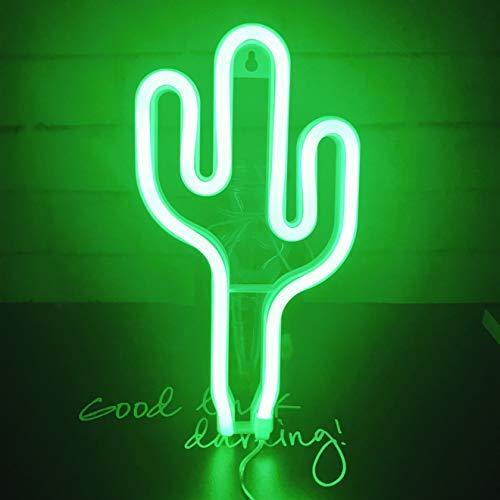 LED Cactus Neon Light, decoración de pared para Navidad, fiesta de cumpleaños, sala de niños, sala de estar, decoración de fiesta de boda (verde)