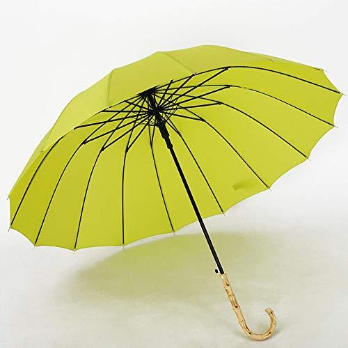 Automatik windfest Damen und Herren Regenschirm,16 Knochen automatische geran Regenschirm, massivem Holz gebogenen Griff Regenschirm-grün_60 (23 Zoll) cm * 16K,Reise Outdoor groß Regenschirm Automatik