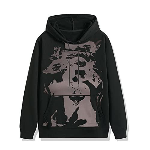 Sudaderas con capucha de manga larga para mujer Casual suelta retrato impreso patrón con capucha Pullover ropa, Negro, 3XL