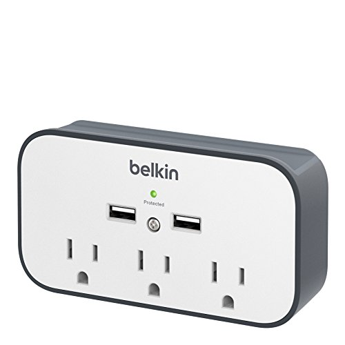 Belkin 3-Outlet Wall Mount Cradle Surge Protector with Dual USB Charging Ports (2.4 Amp Total), Gray/White, Model:BSV300ttCW