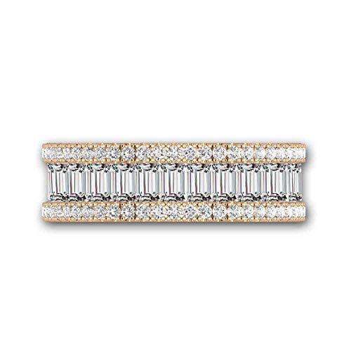 Silverstargemsjewellery 0.75Ct Classic Emerald Cut Pave 14k Yellow Gold Full Eternity Wedding Ring Band (O)