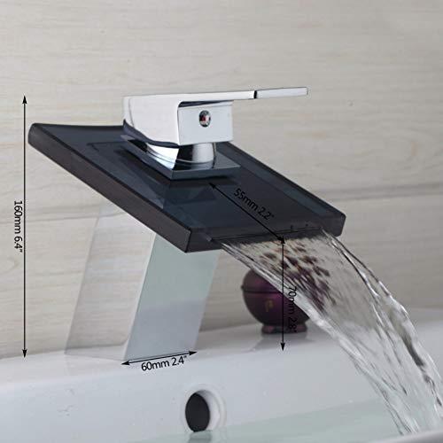 Lavabo de una sola manija Cascada de vidrio negro Baño CromoMontaje en cubierta Fregadero Torneira Recipiente de grifo Mezclador Grifo