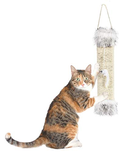 Oak & Paw Hanging Sisal Cat Scratching Pad - Luxury Door Hanging Scratcher for Kittens and Large Cats | Includes Attached Mouse Toy