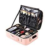 Bolsa de maquillaje Bolsa de cosmética de viaje para mujeres Estuche de maquillaje lindo Estuche de tren cosmético de cuero grande Organizador con divisores ajustables para cosméticos Maquillaje Herra