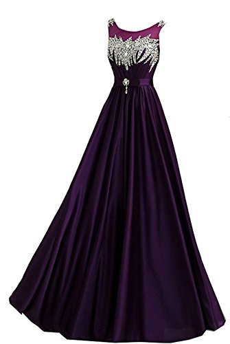 Snow Lotus Women's Round Neck Shoulders with Beaded Belt Ball Gown Purple (Apparel)