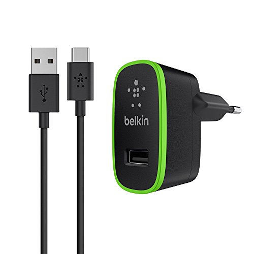 Belkin USB-C Netzladegerät (2.1A/10W, geeignet für Nexus 5X, Nexus 6P, OnePlus 2, Lumia 950, LG G5, inkl. USB-C auf USB-A Kabel, 1,8m) schwarz