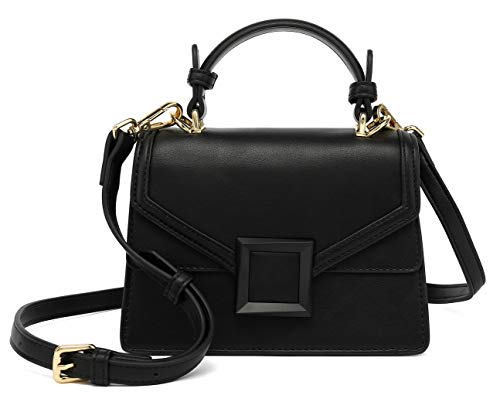 Scarleton Mini Top Handle Satchel Handbag for Women, Vegan Leather 3 Compartment Crossbody Bag, Shoulder Purse, H2077_208601 Black