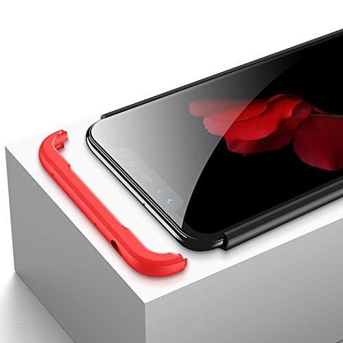 Kit Capa Capinha Anti Impacto 360 Para Xiaomi Redmi Note 6 E 6 Pro Tela 6.26- Case Acrílica Fosca Acabamento Macio Com Película De Vidro Temperado - Danet (Preto Com Vermelho)