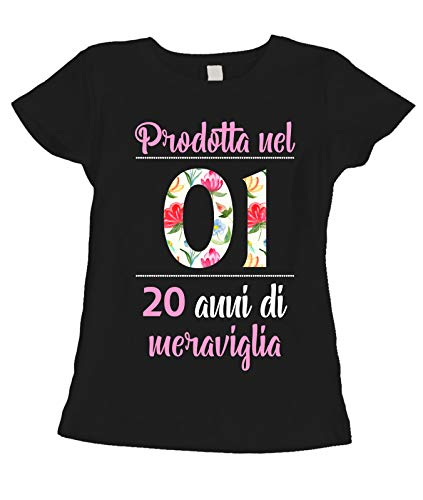fashwork T-Shirt Maglietta Compleanno Regalo Donna 20 Anni Prodotta nel 2001, 20 Anni di meraviglia - Flower - Summer - Idea Regalo