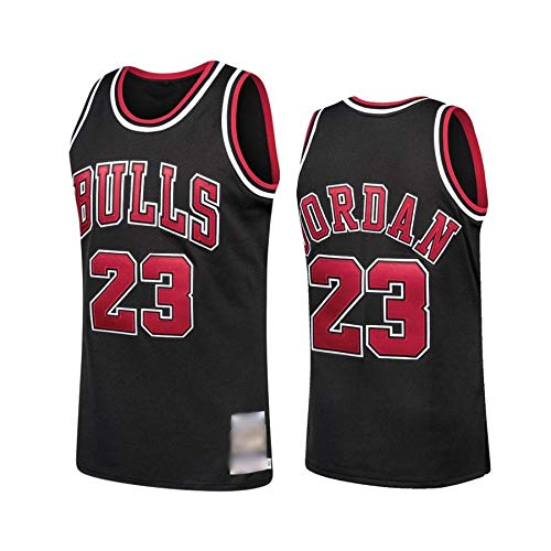 WOLFIRE WF Maglia da basket da uomo NBA Chicago Bulls #23 Michael Jordan ricamata, traspirante e resistente all'usura; maglia per fan nero S