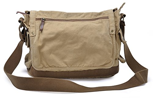 Gootium Canvas Shoulder Bag - Vintage Cross Body Messenger Bag Mens Satchel, Khaki