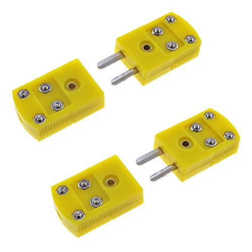 E-Outstanding Adaptador de enchufe termopar 2 pares de conectores tipo K amarillo de plástico carcasa termopar enchufe de cable conectores macho/hembra