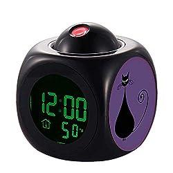 QCNZ1 Projection Kids Alarm Clock, LED Clock Digital LCD Talking, Alarm,Temperature 365.Quirky Funny Black Cat Feline Clock Kitchen Bedroom Living Room Home Decor Projector Wall
