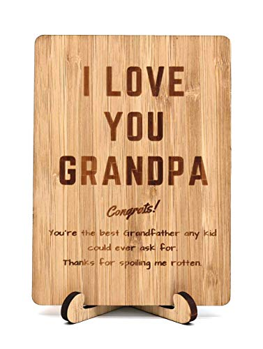 """Zuaart Fahter's Day Handmade Greeting Card I Love You Grandpa Wooden bamboo and Stand -"""" Congrats! You're the best Grandfather any kid could ever for ask. Thanks for spoiling me rotten"""" - Funny gift"""