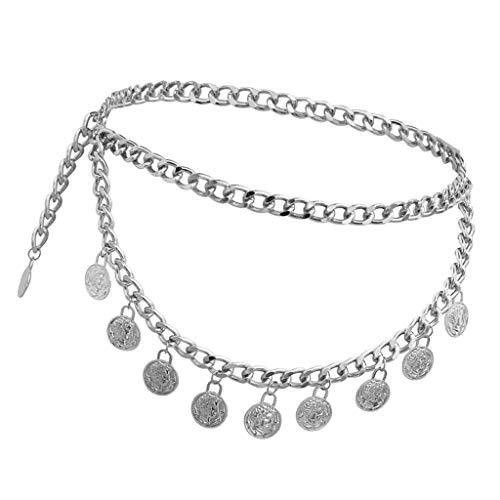 IPOTCH 1 Stück Kristall Strass Taille Gürtel Bikini Bauch Körper Kette Damen Schmuck - Gold Silber - Silber