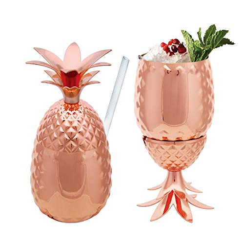 Vastigo 14 oz Pineapple Copper Plated Stainless Steel Cocktail Bar Standing Tumbler Mug Cup   Bar ware Kitchen   Drinking Party Cup