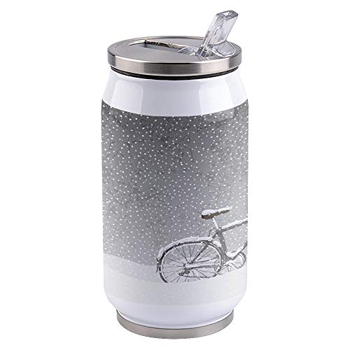 Water Bottle | Vacuum Insulated Stainless Steel Water Bottle 15oz | Bike in the Heavy Snow | Double Walled Water Bottles | Wide Mouth with Straw Lid | Leak Proof Flip-Top