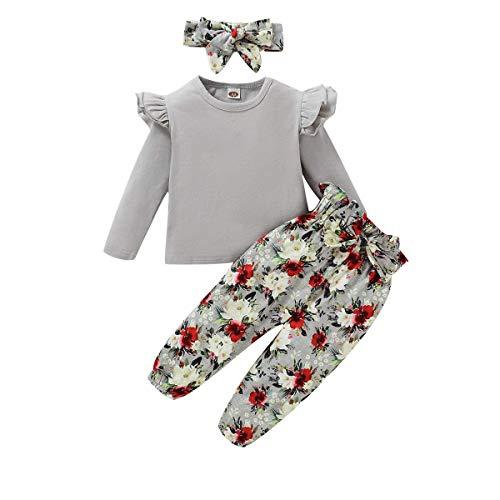 ZOEREA Conjunto de Ropa de Bebé Niña Encantador Manga Larga Tops con Volantes + Pantalones Floral + Venda Recién Nacido Niñas Otoño Primavera Trajes 3 Piezas (Estilo 1 Gris, 3-4 años)