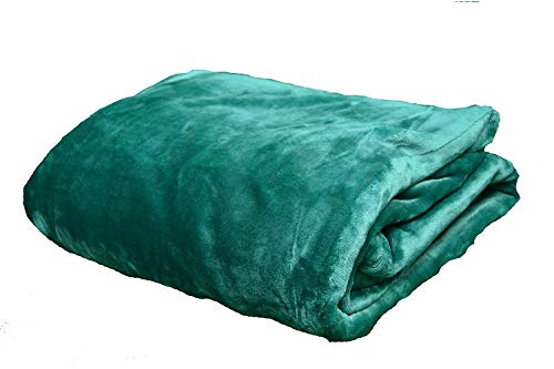 NG Distribution Tagesdecke/Überwurf aus luxuriösem Kunstfell, weich, für Bett & Sofa, Doppelbett- oder Kingsize-Größe, Polyester, smaragdgrün, King 210 x 250