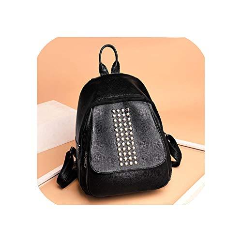 New Women's Backpack PU Leather Women's Rivets Leather Backpack Laptop Satchel Travel School Rucksack Bag mochila5,Black