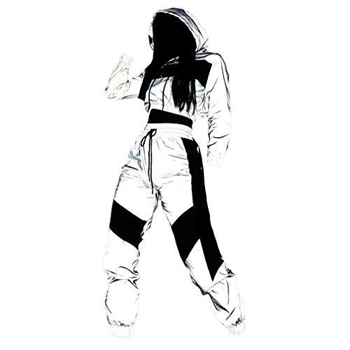 Yying Reflectante Conjunto de Chándal de Mujer - Sudaderas con Capucha + Pantalones Joggers Sports Suits