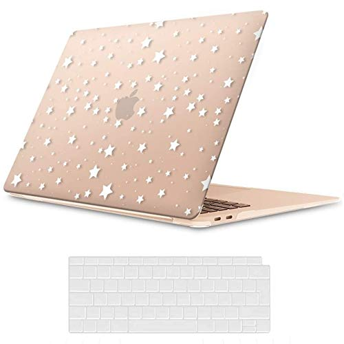 MacBook Air 13 inch Case 2020 2019 2018 Release A2337 M1 A2179 A1932, iCasso Plastic Hard Shell Case Cover and Keyboard Cover Only Compatible MacBook Air 13'' with Touch ID Retina Display - Stars