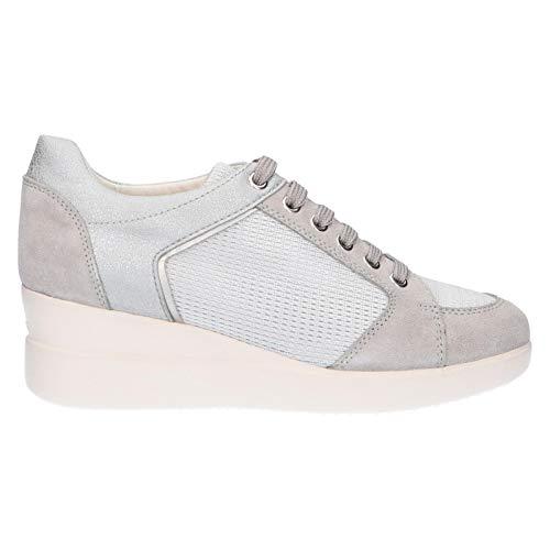 Geox D Stardust B, Zapatillas para Mujer, Gris (Lt Grey/Silver C1355), 37 EU