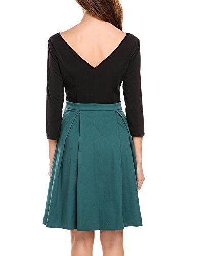 Zeagoo Damen Vintage 50er Jahre Kleid Rockabilly Cocktail Abendkleid Festliches Kleid 3/4 Ärmel V Ausschnitt A Linie Dunkelgrün XXL - 4