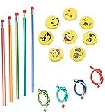 71 Pcs Set sacchetto del partito dei capretti, Annhao matite elastiche e Emoji Smile Gomme con piega magica Giocattoli Divertimento scolastico, per i Riempitivi del Sacchetto del Partito dei Bambini