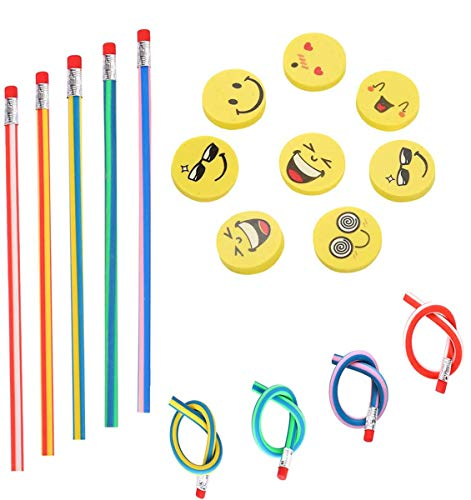71 piezas Kids Party Bag Set de relleno, Annhao suave flexible Bendy lápices y Emoji Smile Erasers Magic Bend Toys School Fun equipo de papelería Favor suministros, Regalos para Fiestas Infantiles