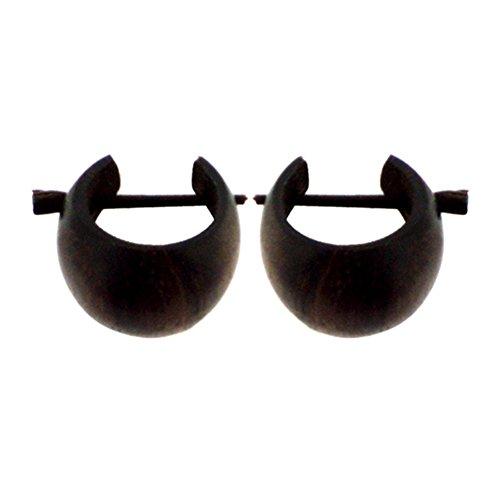 Chic-Net - Pendientes de aro de madera de color marrón oscuro, tallados a mano, madera de sono, 16mm