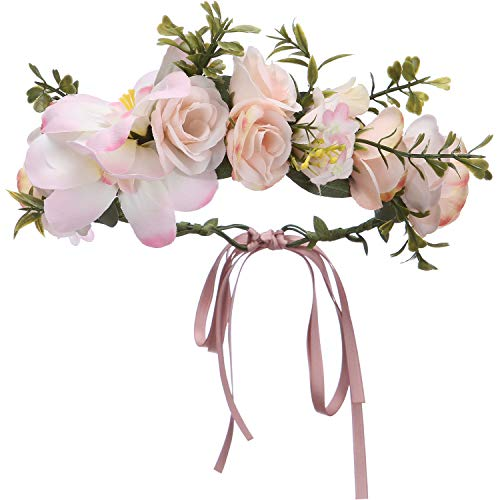 Folora Adjustable Flower Headband Hair Wreath Floral Garland Crown Headpiece with Ribbon for Wedding Ceremony Party Festival