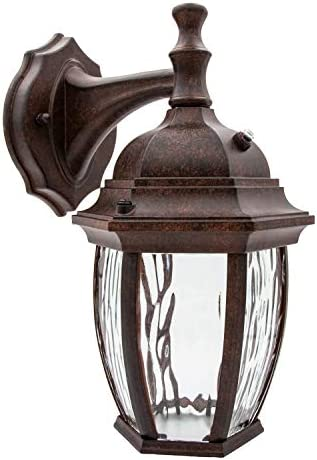 Maxxima LED Outdoor Wall Light Aged Bronze w Clear Water Glass Photocell Sensor 580 Lumens 3000K product image