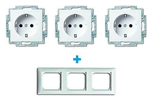 Busch- Jaeger Busch Balance® SI complete set - alpinewit (3 x stopcontact, 1 x frame 3-voudig)