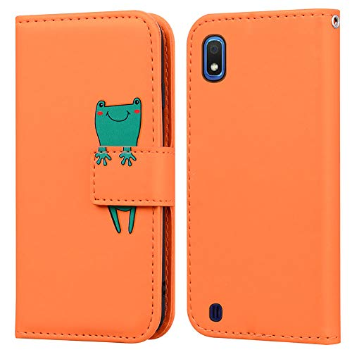 Ailisi Samsung Galaxy A10 Hülle, Karikatur Grün Frog Muster Leder Handyhülle Brieftasche Schutzhülle Leder Flip Hülle Wallet Cover Klapphüllen Tasche Etui mit Kartenfächern+Stand -Frosch, Orange