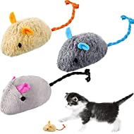 SKYLETY 3 Pieces Toy Catnip Mice Rattling Catnip Mice Cute Cat Chewing Teeth and Cleaning Realistic ...