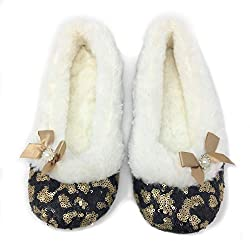 Maggie Black N Gold Sequins Ballerina Slippers